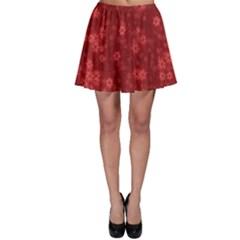 Snow Stars Red Skater Skirts