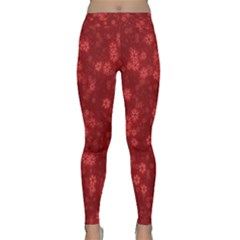 Snow Stars Red Yoga Leggings