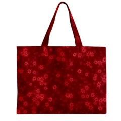 Snow Stars Red Zipper Tiny Tote Bags