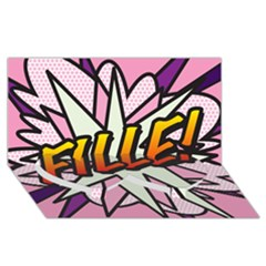 Comic Book Fille! Twin Heart Bottom 3d Greeting Card (8x4)
