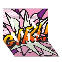 Comic Book Girl!  Love 3d Greeting Card (7x5)