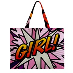 Comic Book Girl!  Zipper Tiny Tote Bags