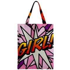 Comic Book Girl!  Zipper Classic Tote Bags