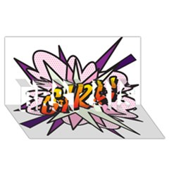 Comic Book Girl!  BEST SIS 3D Greeting Card (8x4)