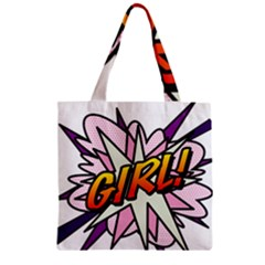 Comic Book Girl!  Zipper Grocery Tote Bags