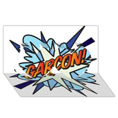 Comic Book Garcon! Twin Hearts 3D Greeting Card (8x4)