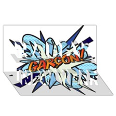 Comic Book Garcon! Happy New Year 3D Greeting Card (8x4)