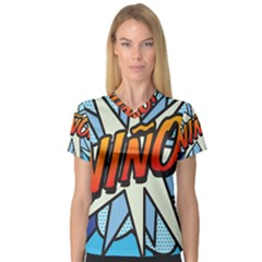 Comic Book Nino! Women s V-Neck Sport Mesh Tee