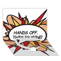 Hands Off Circle Bottom 3d Greeting Card (7x5)