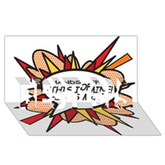 Hands Off Best Sis 3d Greeting Card (8x4)
