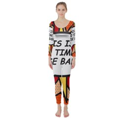 Comic Book This Is No Time To Pose Baby Long Sleeve Catsuit