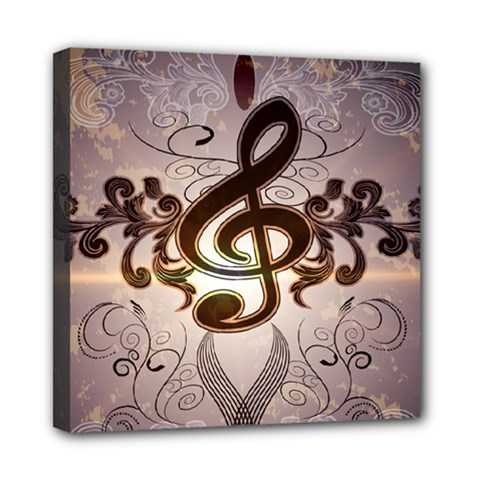 Music, Wonderful Clef With Floral Elements Mini Canvas 8  x 8