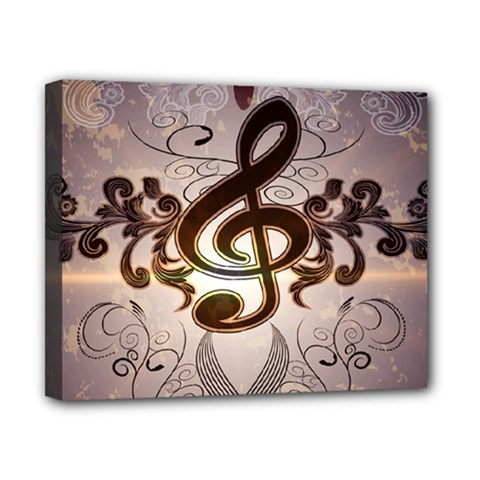 Music, Wonderful Clef With Floral Elements Canvas 10  x 8