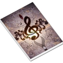 Music, Wonderful Clef With Floral Elements Large Memo Pads
