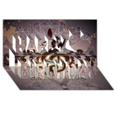 Music, Wonderful Clef With Floral Elements Happy Birthday 3D Greeting Card (8x4)