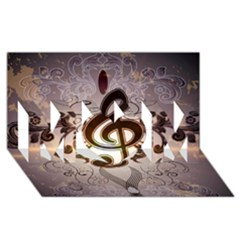 Music, Wonderful Clef With Floral Elements MOM 3D Greeting Card (8x4)