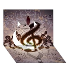 Music, Wonderful Clef With Floral Elements Heart 3D Greeting Card (7x5)