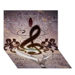 Music, Wonderful Clef With Floral Elements Heart Bottom 3D Greeting Card (7x5)