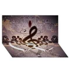Music, Wonderful Clef With Floral Elements Twin Heart Bottom 3D Greeting Card (8x4)
