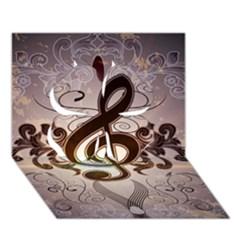 Music, Wonderful Clef With Floral Elements Clover 3d Greeting Card (7x5)