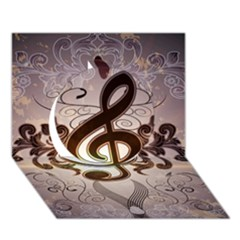 Music, Wonderful Clef With Floral Elements Circle 3D Greeting Card (7x5)