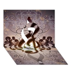 Music, Wonderful Clef With Floral Elements Ribbon 3D Greeting Card (7x5)