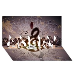 Music, Wonderful Clef With Floral Elements Sorry 3d Greeting Card (8x4)