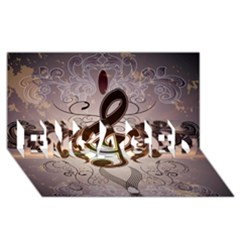Music, Wonderful Clef With Floral Elements ENGAGED 3D Greeting Card (8x4)