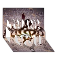 Music, Wonderful Clef With Floral Elements Thank You 3d Greeting Card (7x5)
