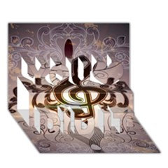 Music, Wonderful Clef With Floral Elements You Did It 3D Greeting Card (7x5)