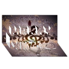 Music, Wonderful Clef With Floral Elements Merry Xmas 3d Greeting Card (8x4)