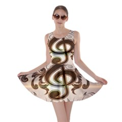 Music, Wonderful Clef With Floral Elements Skater Dresses