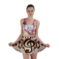 Music, Wonderful Clef With Floral Elements Mini Skirts