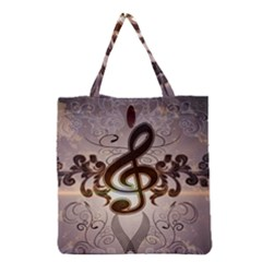 Music, Wonderful Clef With Floral Elements Grocery Tote Bags