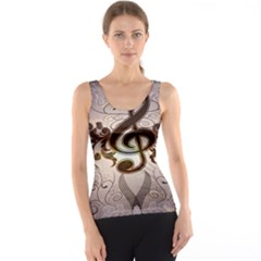 Music, Wonderful Clef With Floral Elements Tank Tops
