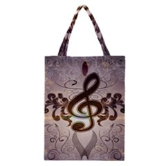 Music, Wonderful Clef With Floral Elements Classic Tote Bags