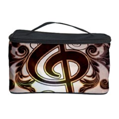 Music, Wonderful Clef With Floral Elements Cosmetic Storage Cases