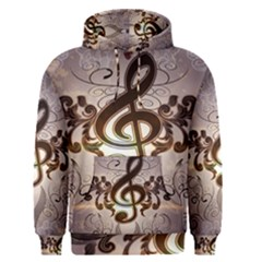 Music, Wonderful Clef With Floral Elements Men s Pullover Hoodies