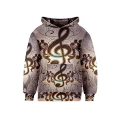 Music, Wonderful Clef With Floral Elements Kid s Pullover Hoodies