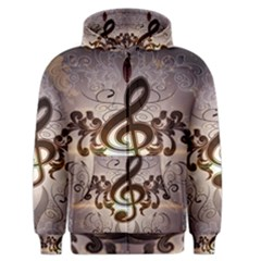 Music, Wonderful Clef With Floral Elements Men s Zipper Hoodies