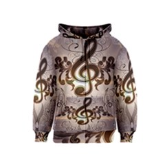 Music, Wonderful Clef With Floral Elements Kids Zipper Hoodies