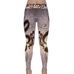 Music, Wonderful Clef With Floral Elements Yoga Leggings