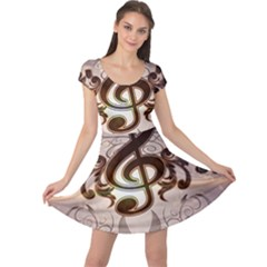 Music, Wonderful Clef With Floral Elements Cap Sleeve Dresses