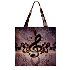 Music, Wonderful Clef With Floral Elements Zipper Grocery Tote Bags
