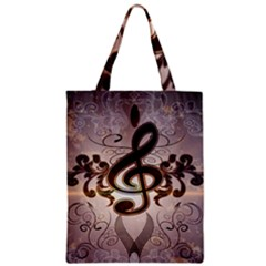 Music, Wonderful Clef With Floral Elements Zipper Classic Tote Bags