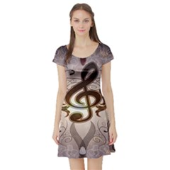 Music, Wonderful Clef With Floral Elements Short Sleeve Skater Dresses