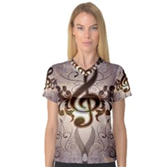 Music, Wonderful Clef With Floral Elements Women s V-Neck Sport Mesh Tee