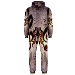 Music, Wonderful Clef With Floral Elements Hooded Jumpsuit (men)