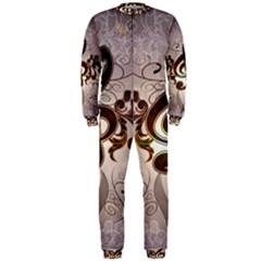 Music, Wonderful Clef With Floral Elements OnePiece Jumpsuit (Men)