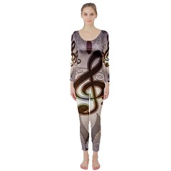 Music, Wonderful Clef With Floral Elements Long Sleeve Catsuit